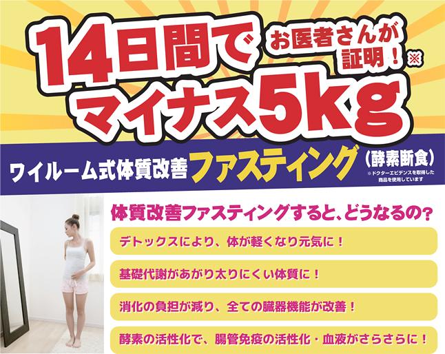 14日間wai room式 体質改善ファスティングダイエットプログラムコース